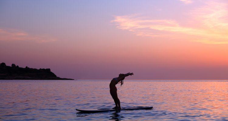 yoga on a paddle board